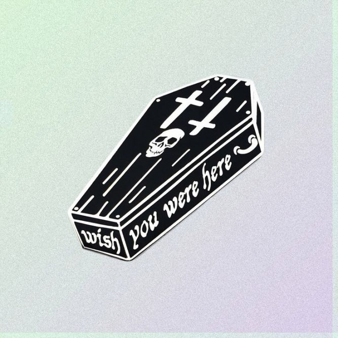WISH YOU WERE HERE ENAMELED PIN