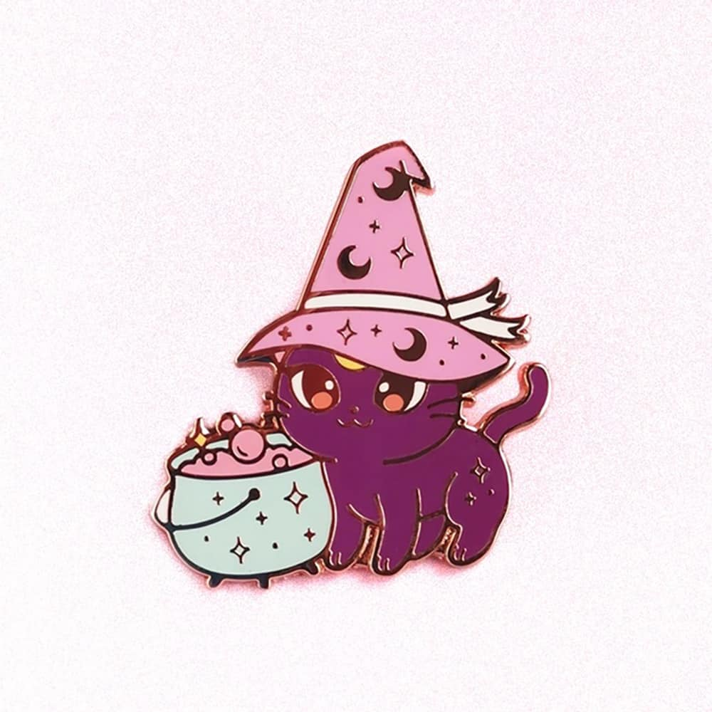 WITCH CAT ENAMELED PIN