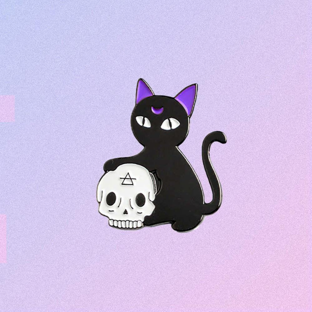 WITCH CAT WITH SCULL ENAMELED PIN