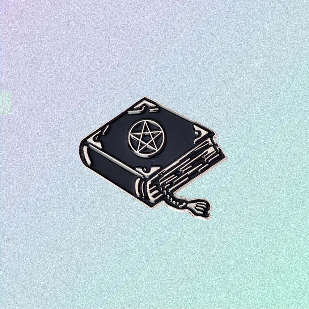 WITCH SPELL BOOK ENAMELED PIN