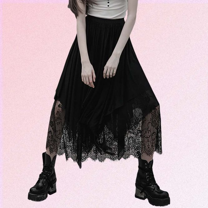 BLACK LONG SKIRT WITH LACE