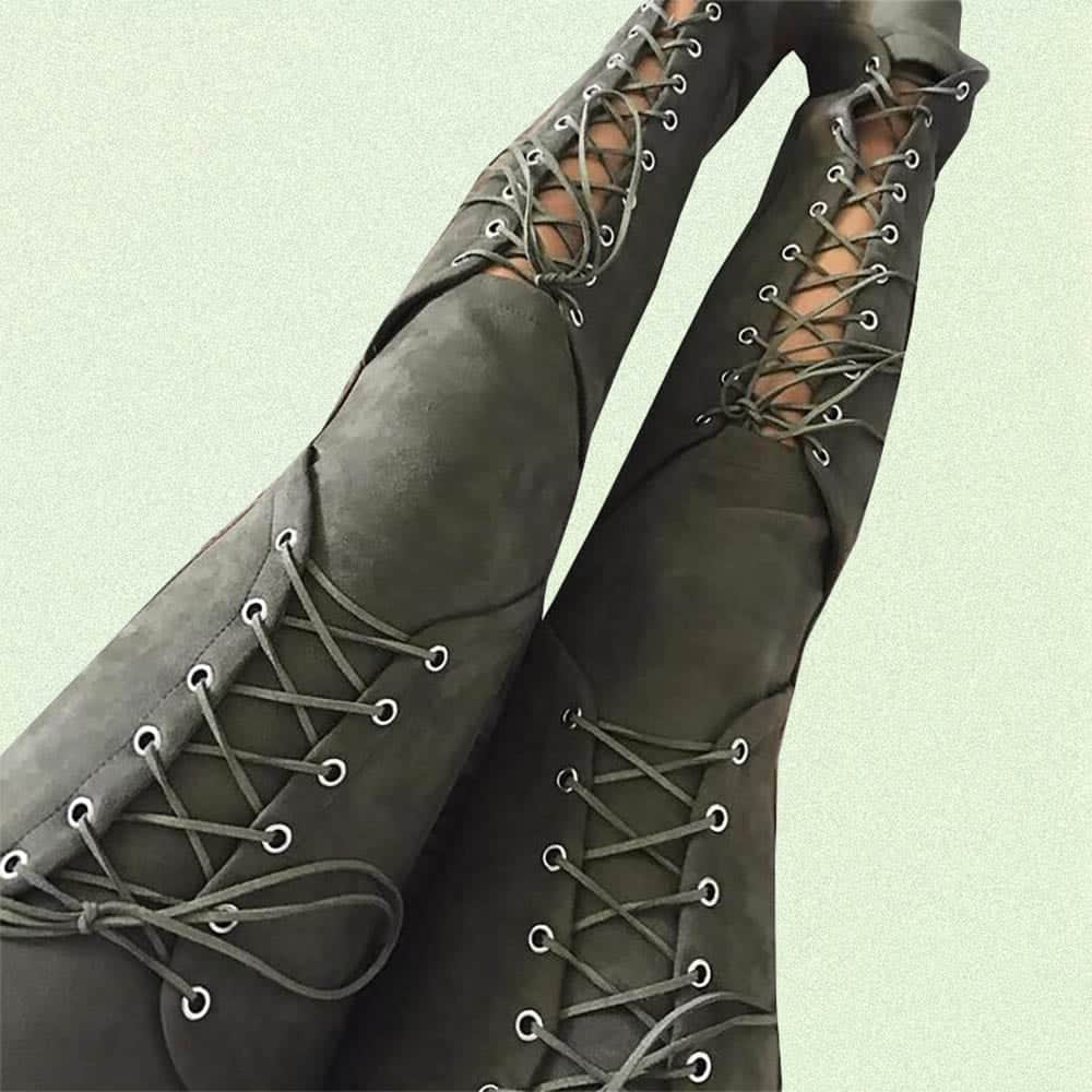 BLACK ARMY GREEN HIGH WAIST SUEDE LACE UP SKINNY PANTS