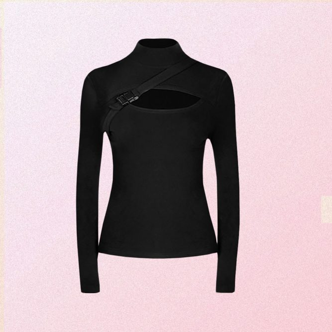 BLACK FITTED CUT OUT LONG SLEEVE TOP