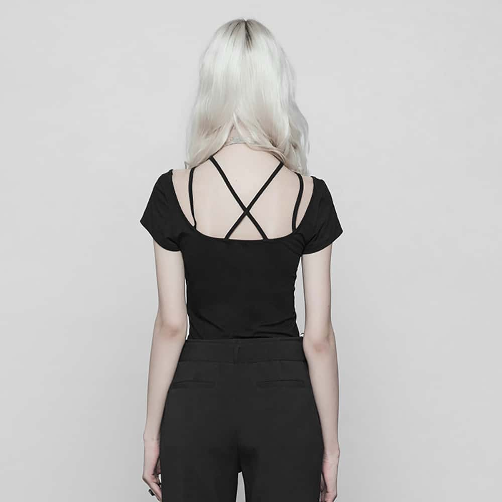 BLACK FITTED OPEN BACK T-SHIRT