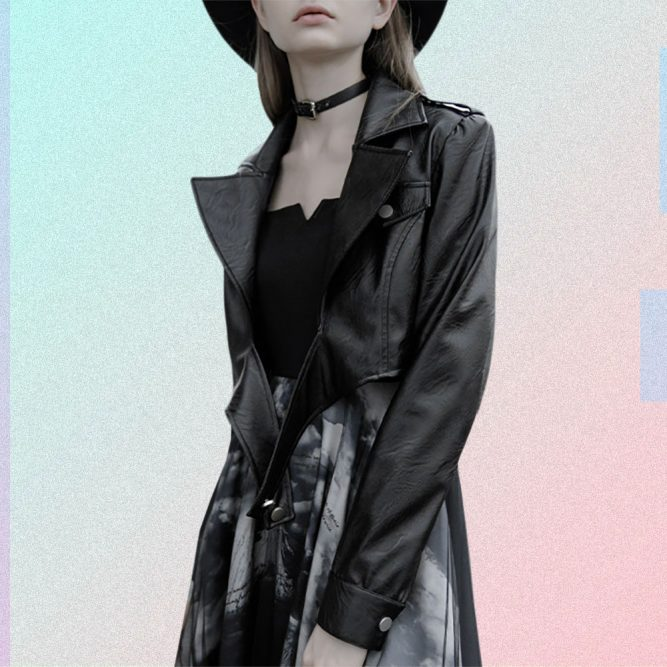 BLACK FITTED PU LEATHER CROP JACKET