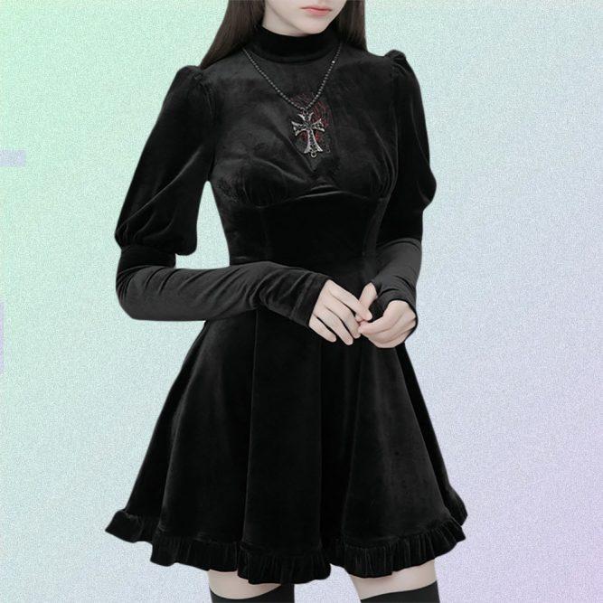 BLACK GOTH AESTHETIC VELVET LONG SLEEVE MINI DRESS