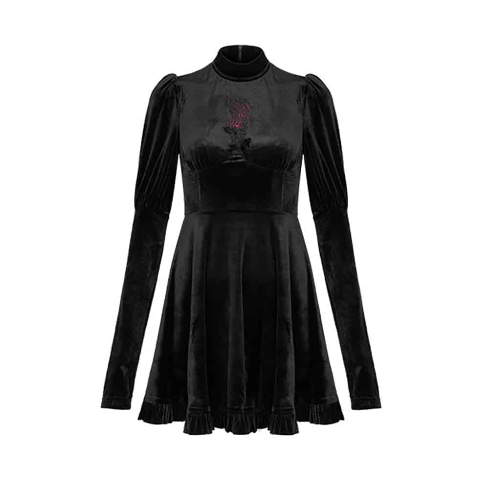 BLACK GOTICH VELVET MINI DRESS