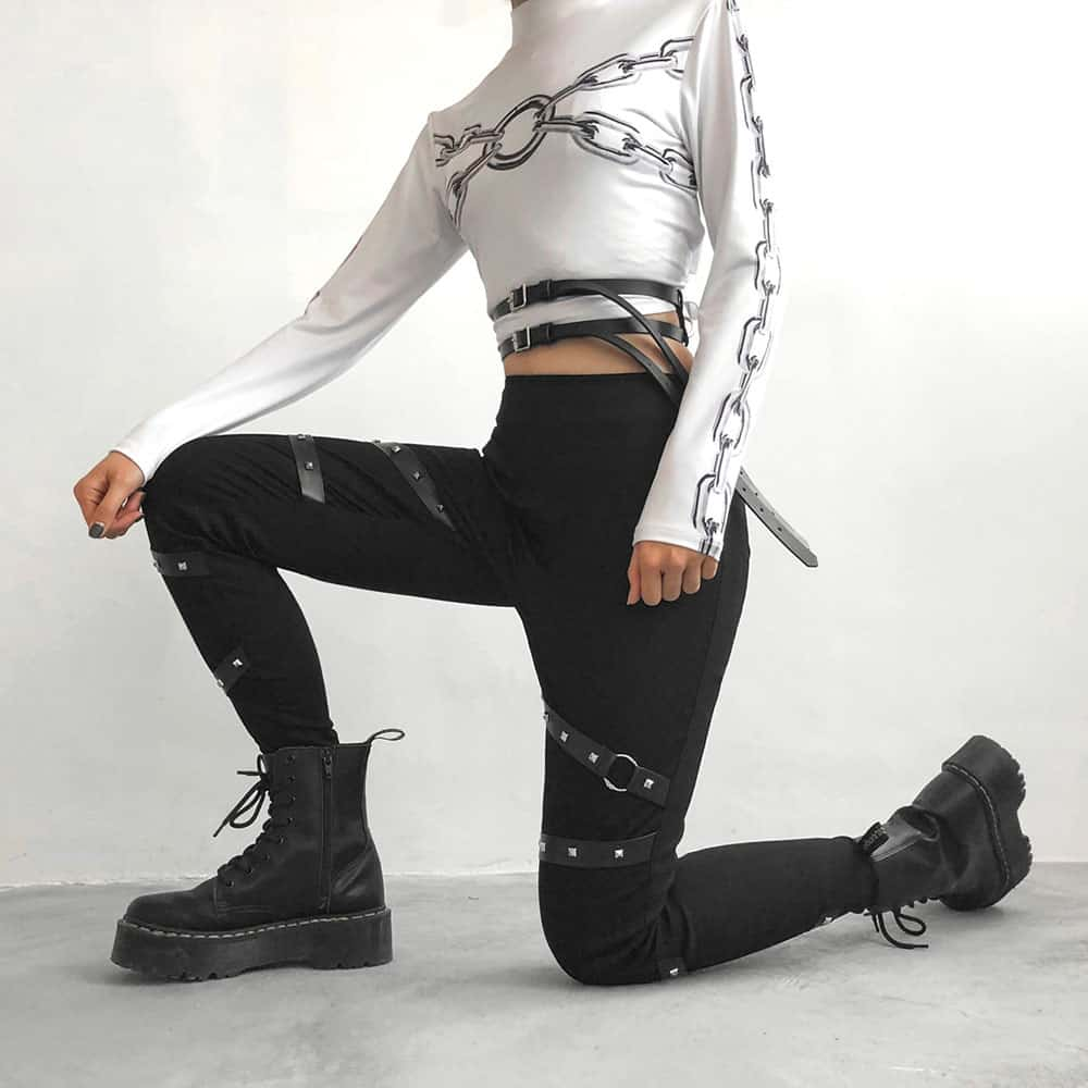 BLACK HIGH WAIST FITTED BELTS PANTS