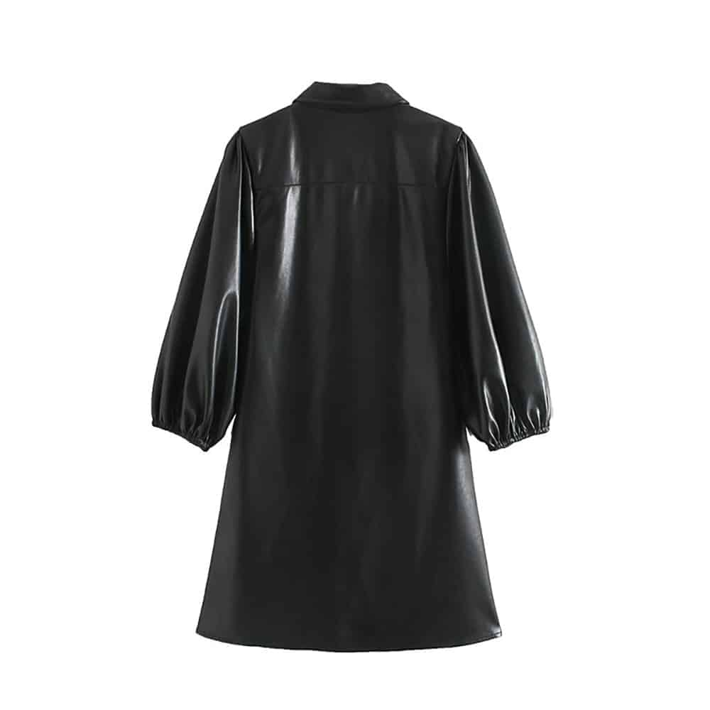 BLACK PU LEATHER LONG SLEEVE SHIRT DRESS