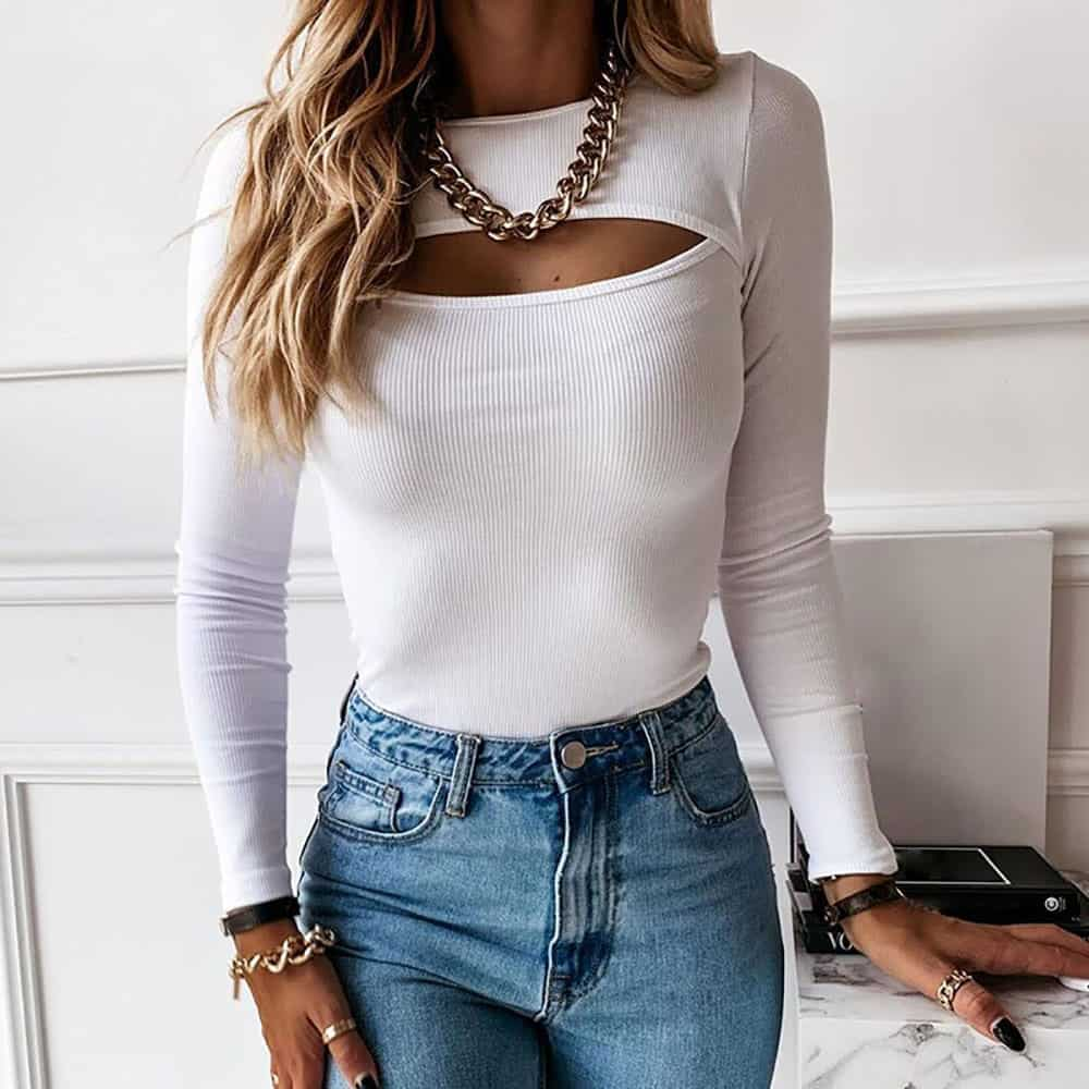 BLACK WHITE FITTED CUT OUT LONG SLEEVE TOP
