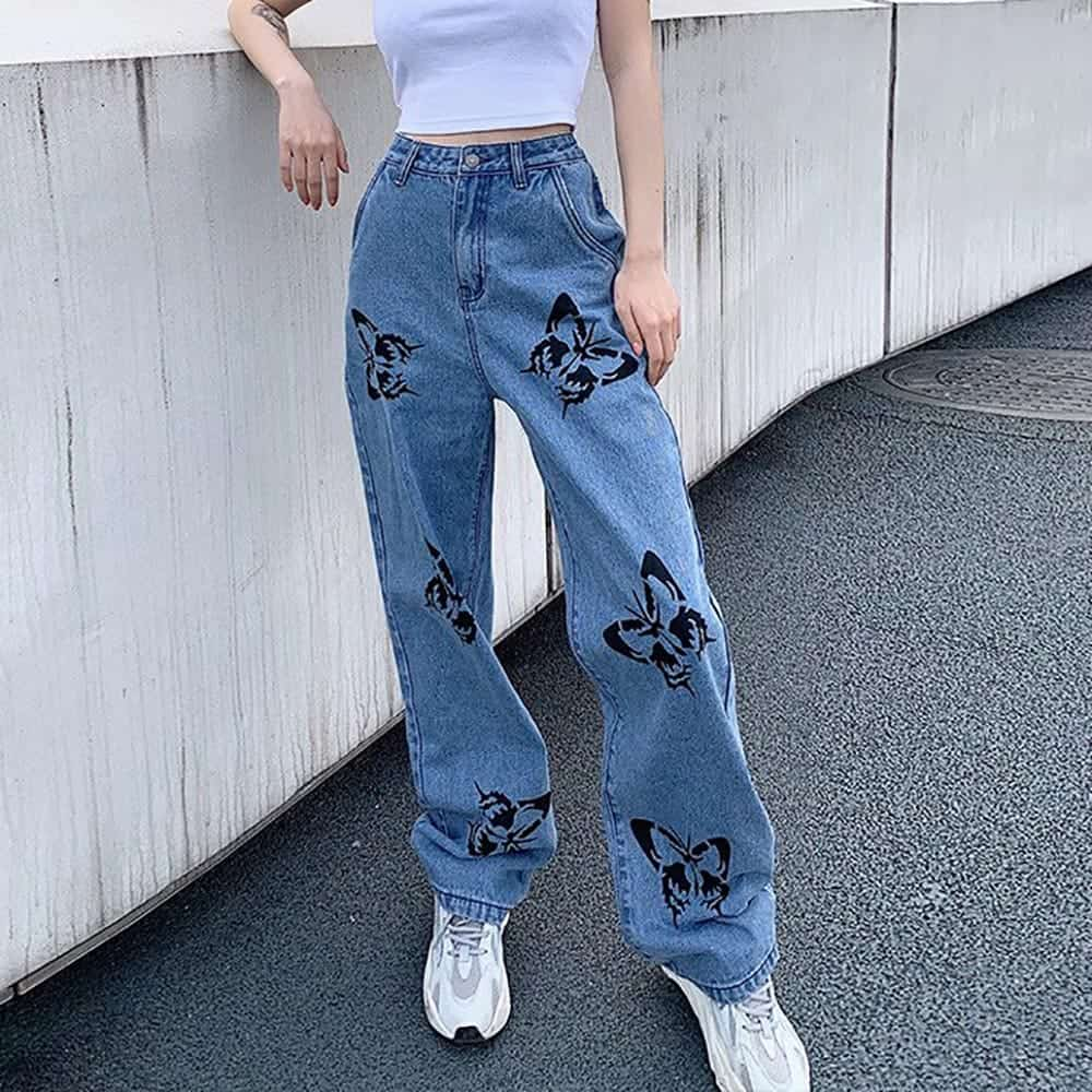BUTTERFLY PRINT 90s AESTHETIC BLUE LOOSE HIGH WAIST STRAIGHT JEANS