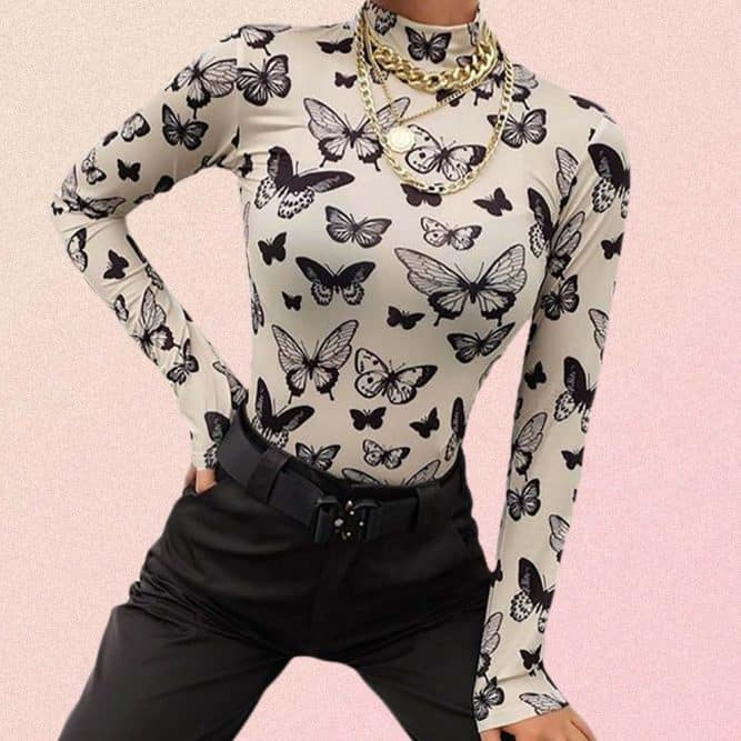 BUTTERFLY PRINT LONG SLEEVE TOP