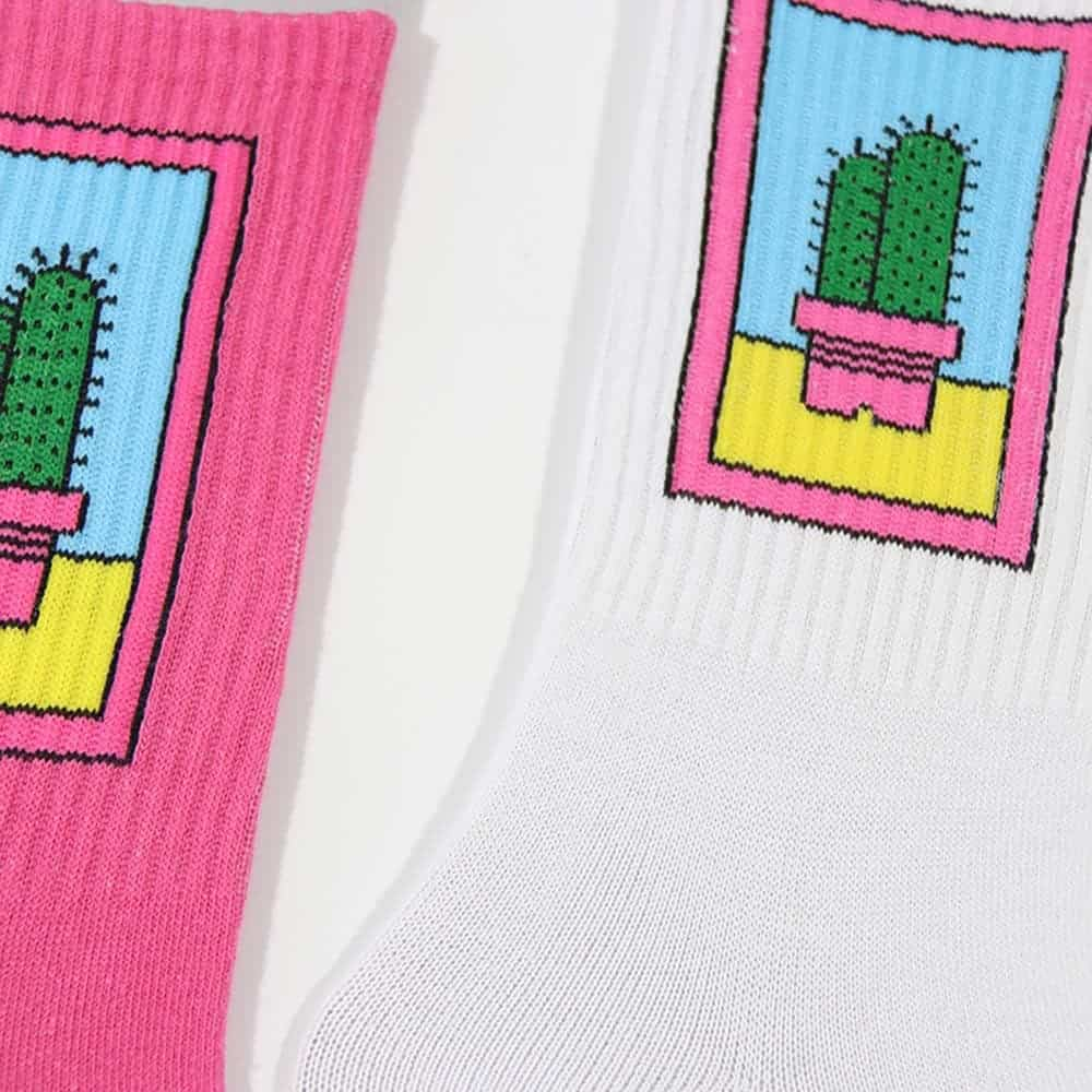 CACTUS EMBROIDERY WHITE PINK AESTHETIC SOCKS