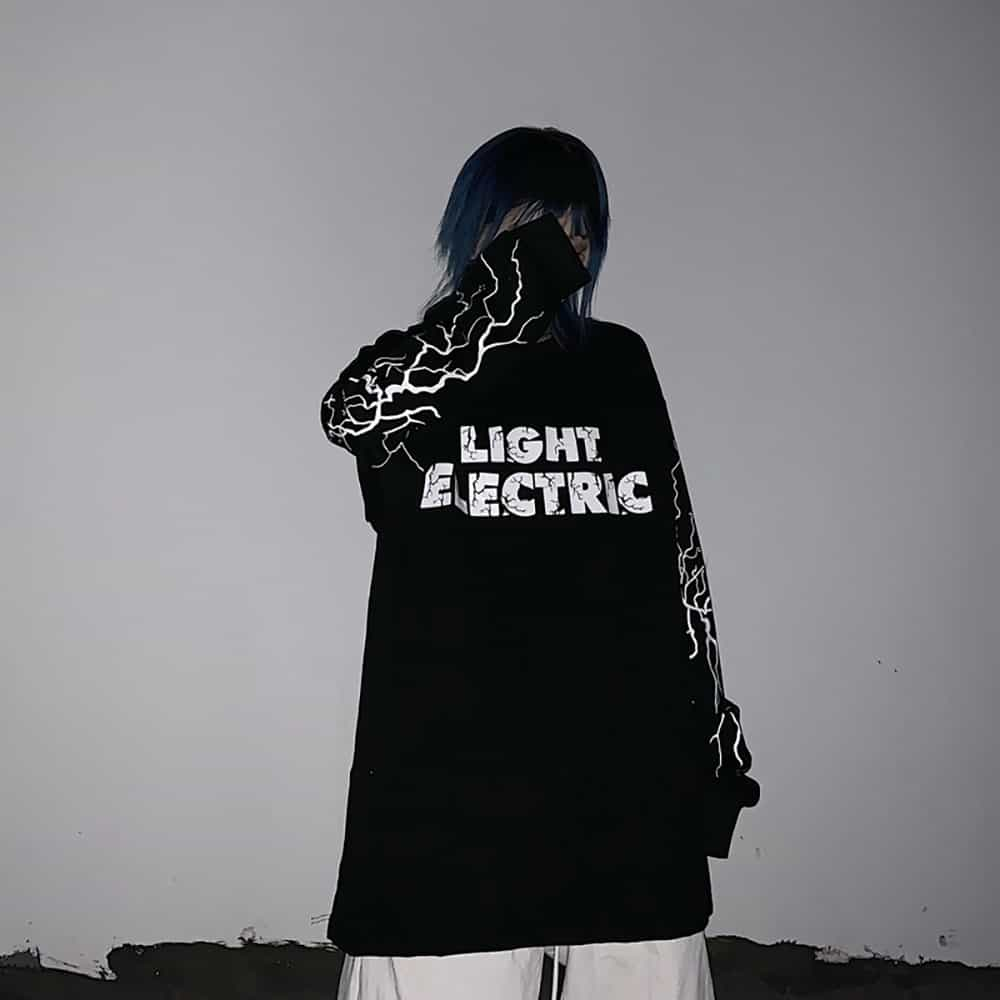 ELECTRIC LIGHTNING AESTHETIC BLACK WHITE LONG SLEEVED LOOSE SHIRT