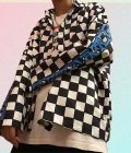 FLAME LETTERS PRINT CHECKERED GRID LOOSE JACKET