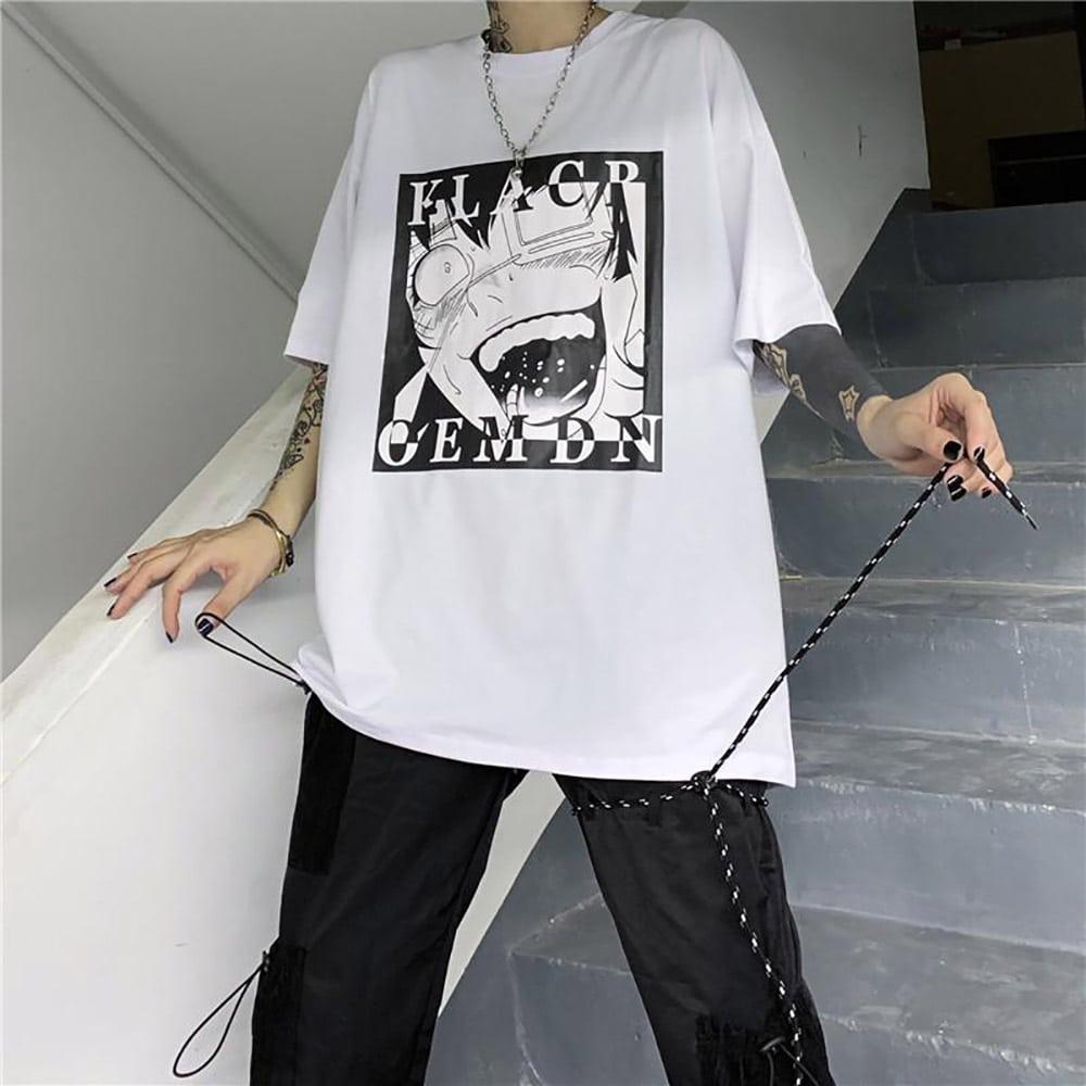 MANGA PRINT BLACK WHITE LOOSE T-SHIRT
