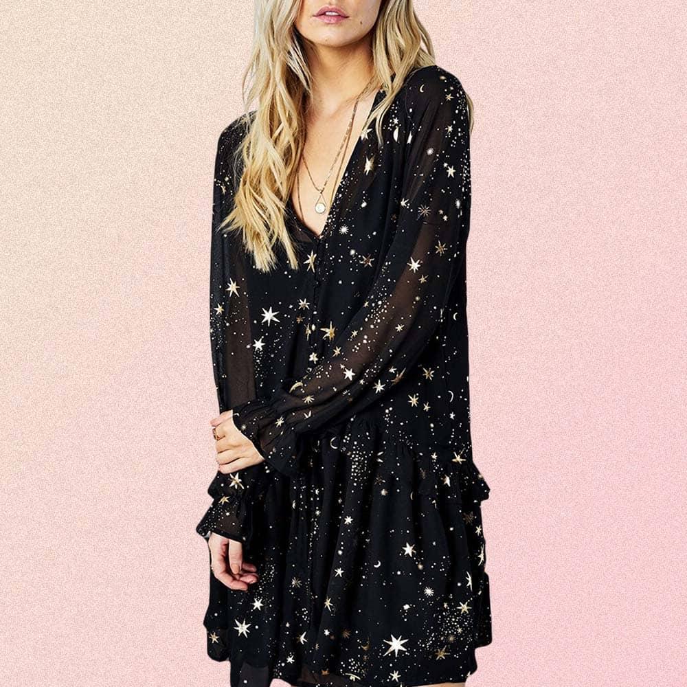 MOON & STARS PRINT LONG SLEEVE BLACK DRESS