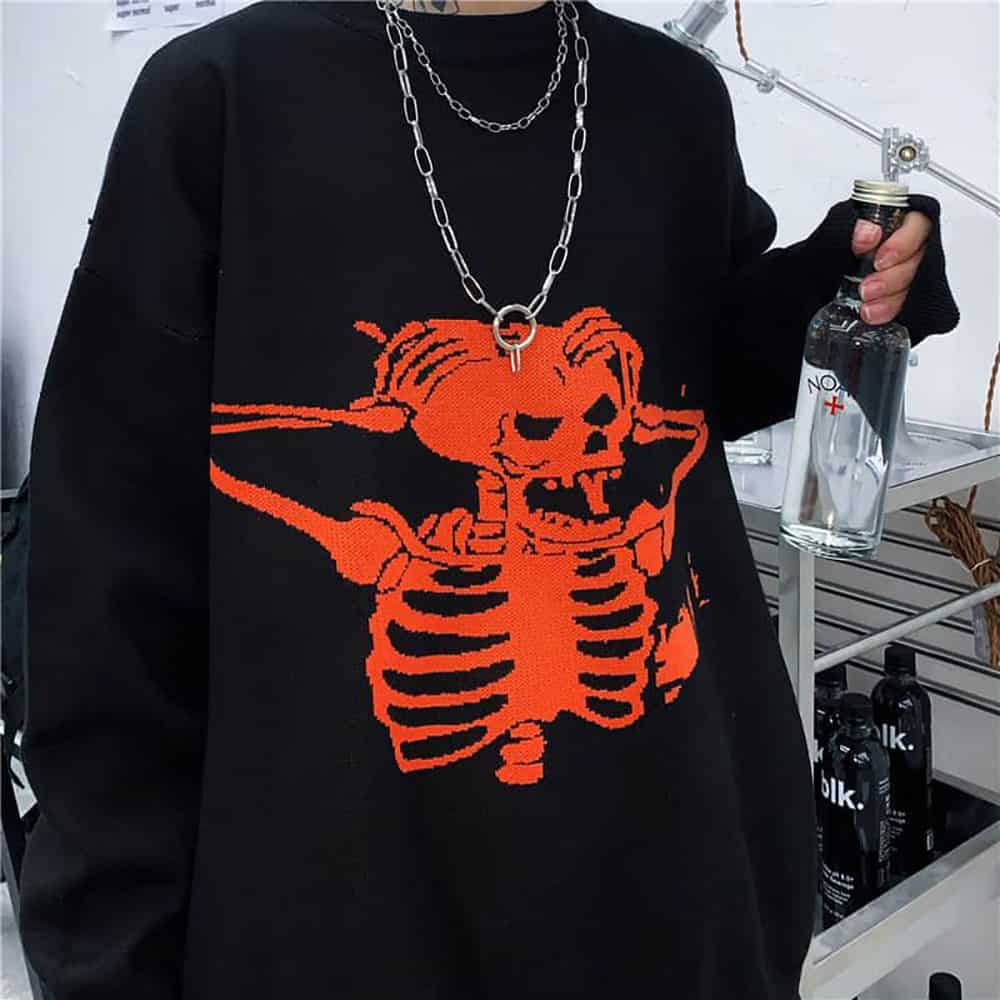 RED SKELETON EMBROIDERY LOOSE KNITTED SWEATER
