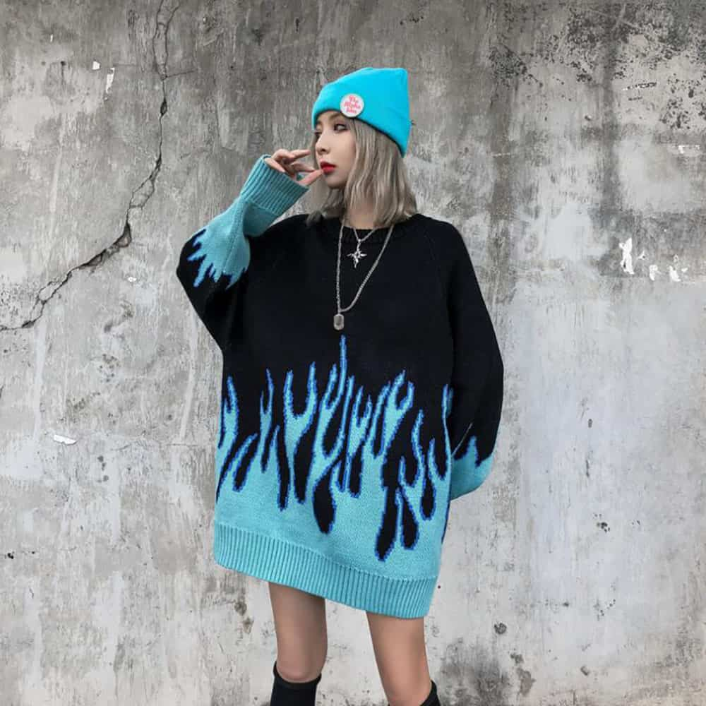 RETRO BLUE FLAMES EMBROIDERY LOOSE KNIT SWEATER