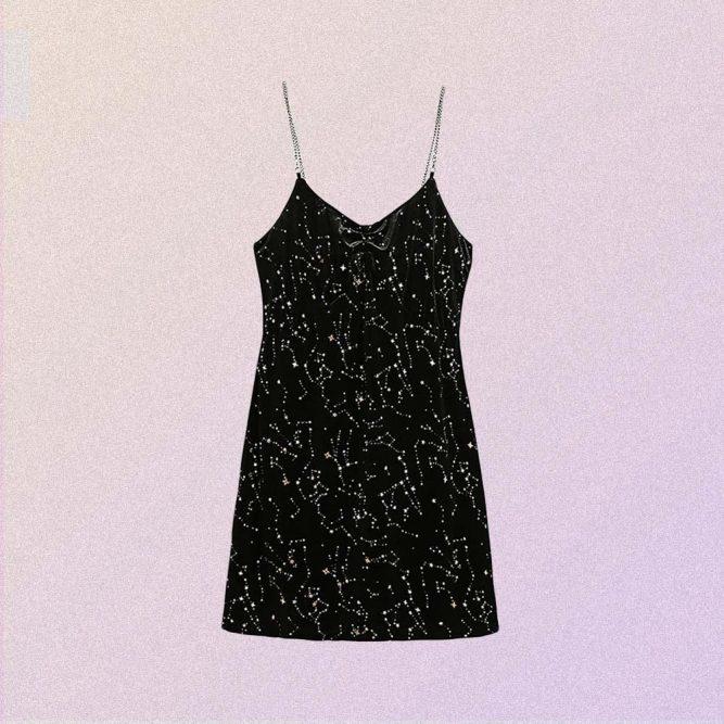 STARS PRINT BLACK VELVET SLEVELESS DRESS