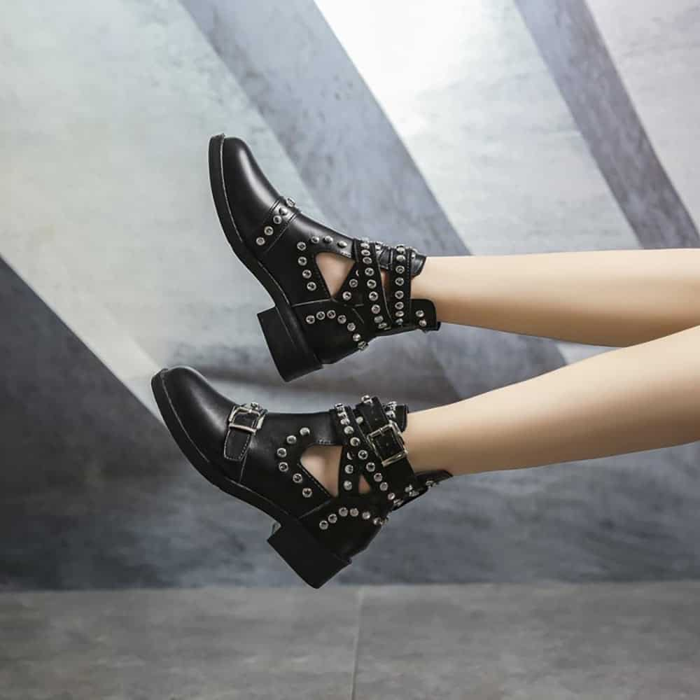 STUDDED STRAPPY ANKLE BOOTS
