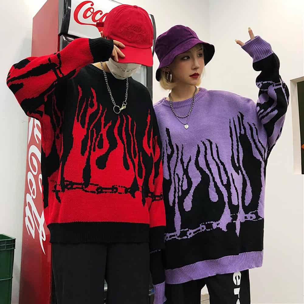VINTAGE FLAMES EMBROIDERY LOOSE KNIT BAT SLEEVE AESTHETIC SWEATER