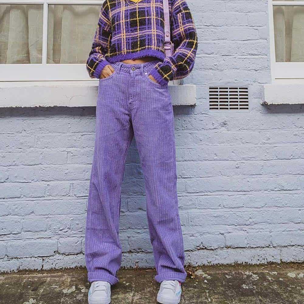 90S AESTHETIC VELVET PURPLE STRAIGHT PANTS