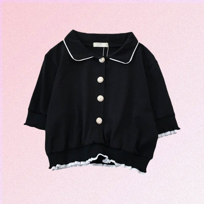 BLACK SHORT SLEEVE SHIRT WITH BUTTONS
