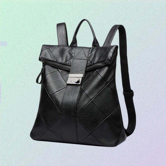 BLACK AESTHETIC PU LEATHER BACKPACK
