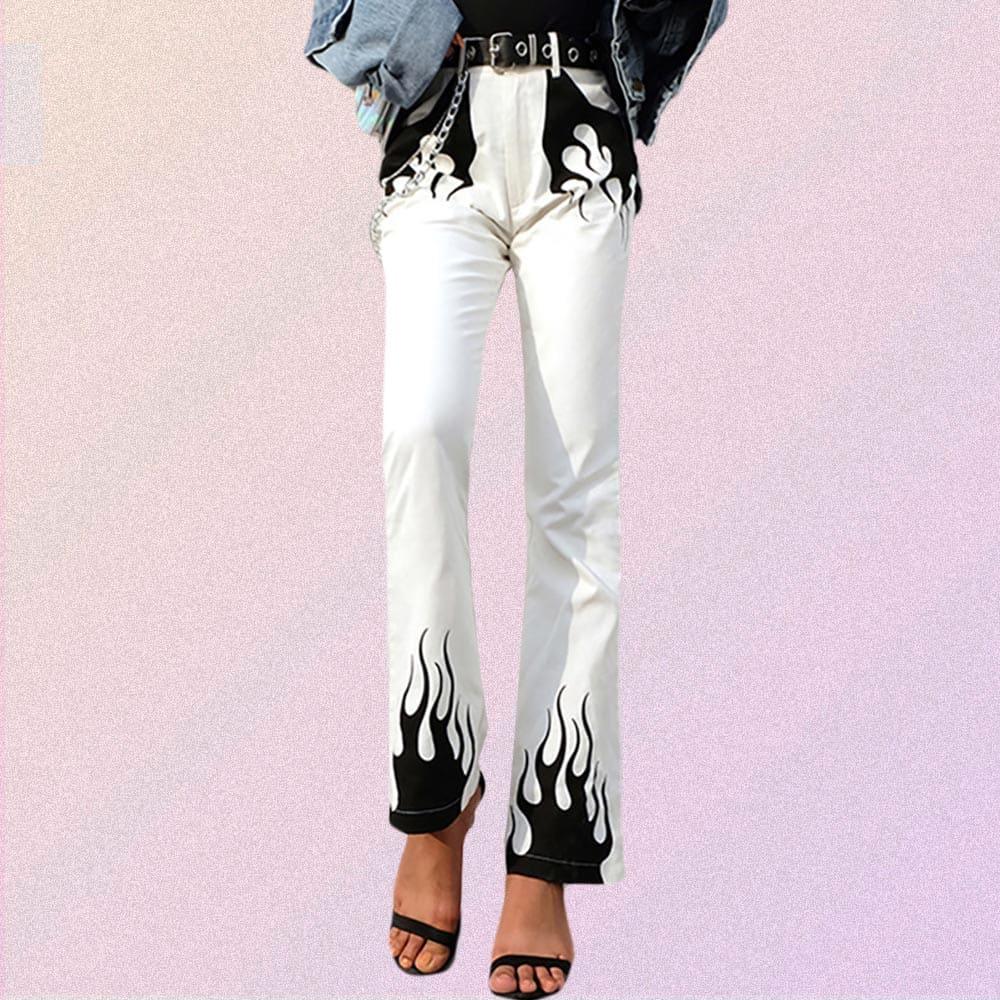 BLACK FLAME WHITE FLARE PANTS