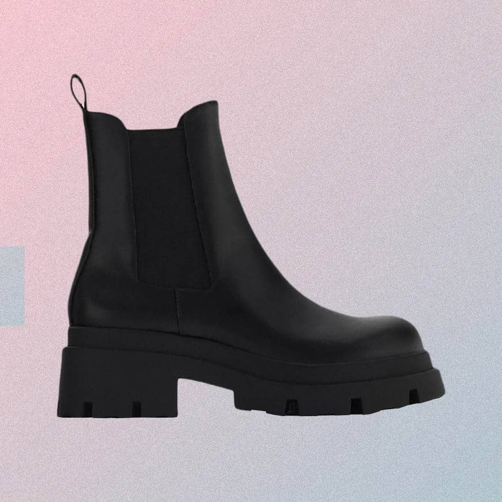 BLACK PU LEATHER ELASTIC ANKLE BOOTS