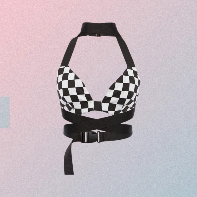 CHECKERED SLEEVELESS CROP TOP WITH BELTS