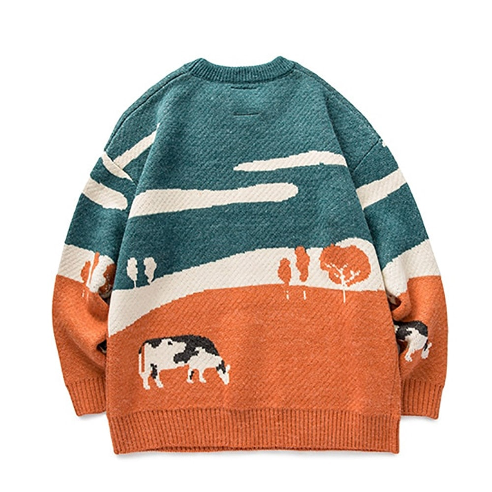 COW PRINT VINTAGE AESTHETIC LONG SLEEVE OVERSIZED SWEATER