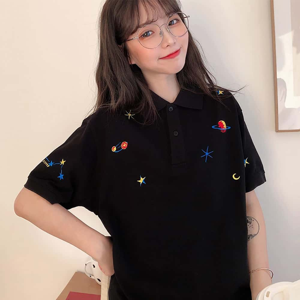 EMBROIDERY SPACE SHORT SLEEVE BLACK POLO SHIRT