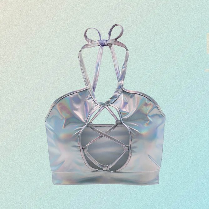 LASER HOLOGRAPHIC LACING SLEEVELESS CROP TOP