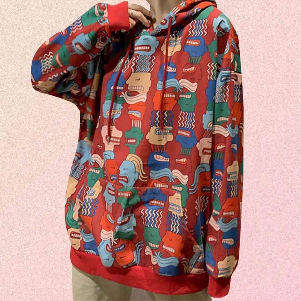 MULTICOLOR ANGRY FACE PRINT LONG SLEEVE OVERSIZED HOODIE