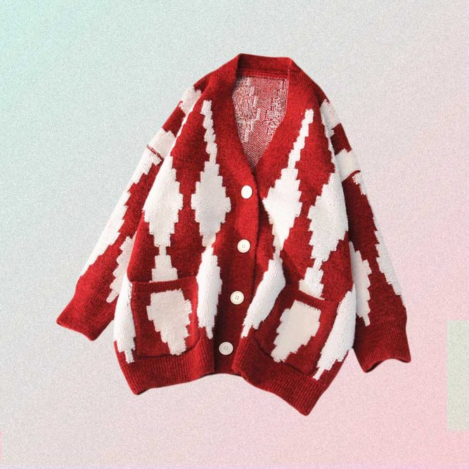 RHOMBUS PRINT LONG SLEEVE OVERSIZED BUTTONED SWEATER