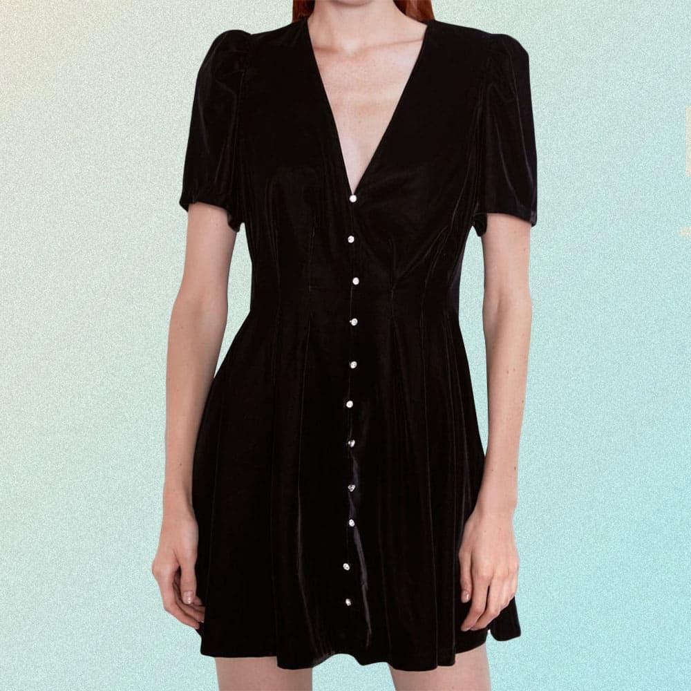 VELVET BUTTONED BLACK A-LINE DRESS