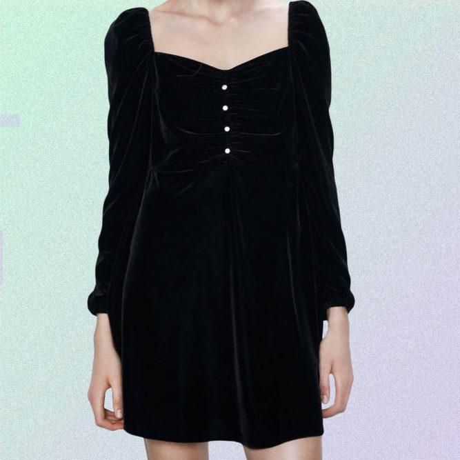 VELVET BUTTONED LONG SLEEVE BLACK MINI DRESS