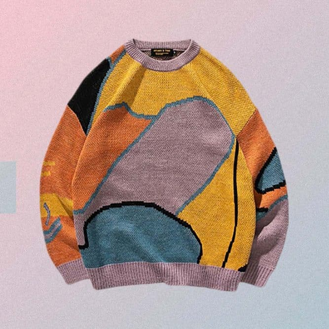 VINTAGE AESTHETIC MULTICOLOR PRINT LONG SLEEVE OVERSIZED SWEATER