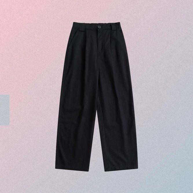 BASE OVERSIZED HIGH WAIST BLACK BEIGE PANTS