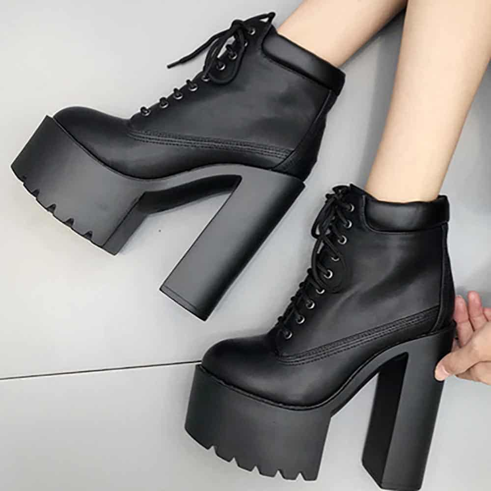 BLACK HIGH HEEL LACE UP ANKLE BOOTS