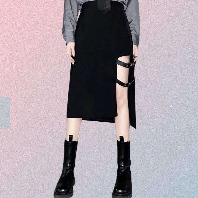 GOTHIC AESTHETIC MIDI SKIRT WITH BELTS