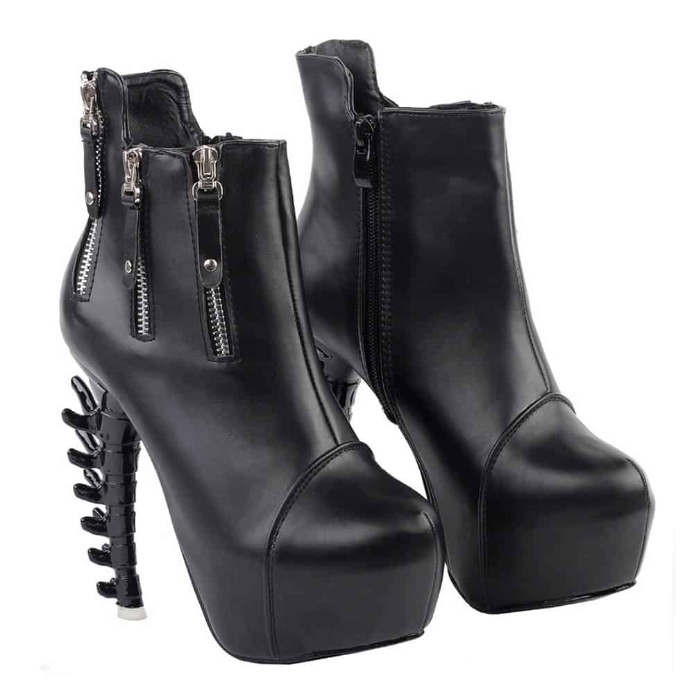 GOTHIC AESTHETIC SPINE HIGH HEEL PLATFORM ANKLE BOOTS