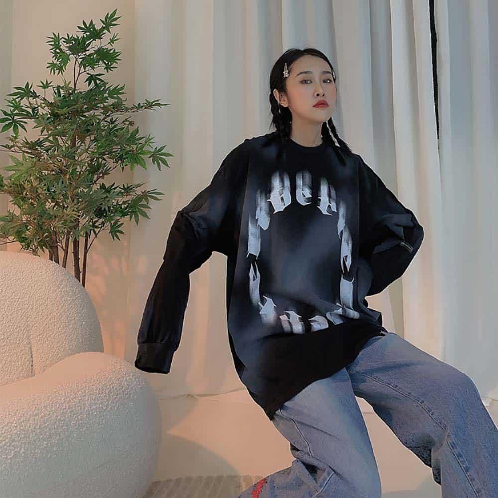 HARAJUKU STYLE LETTERS PRINT LONG SLEEVE T-SHIRT