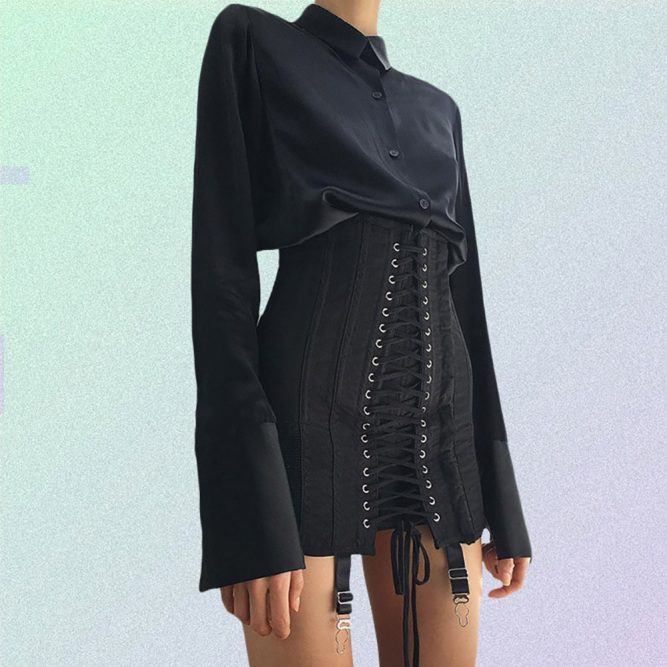 LACE UP HIGH WAIST GOTHIC STYLE SKIRT