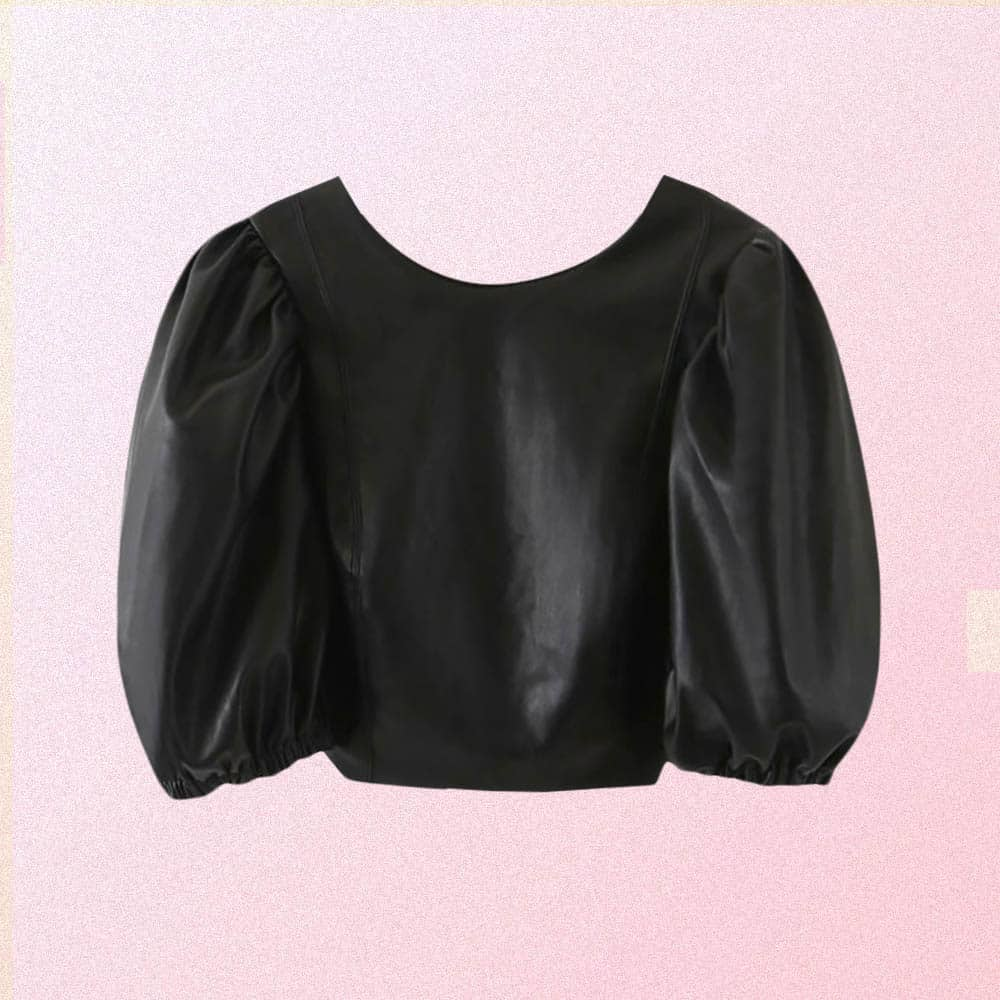 PUFFY SLEEVE OPEN BACK TIES PU LEATHER BLOUSES