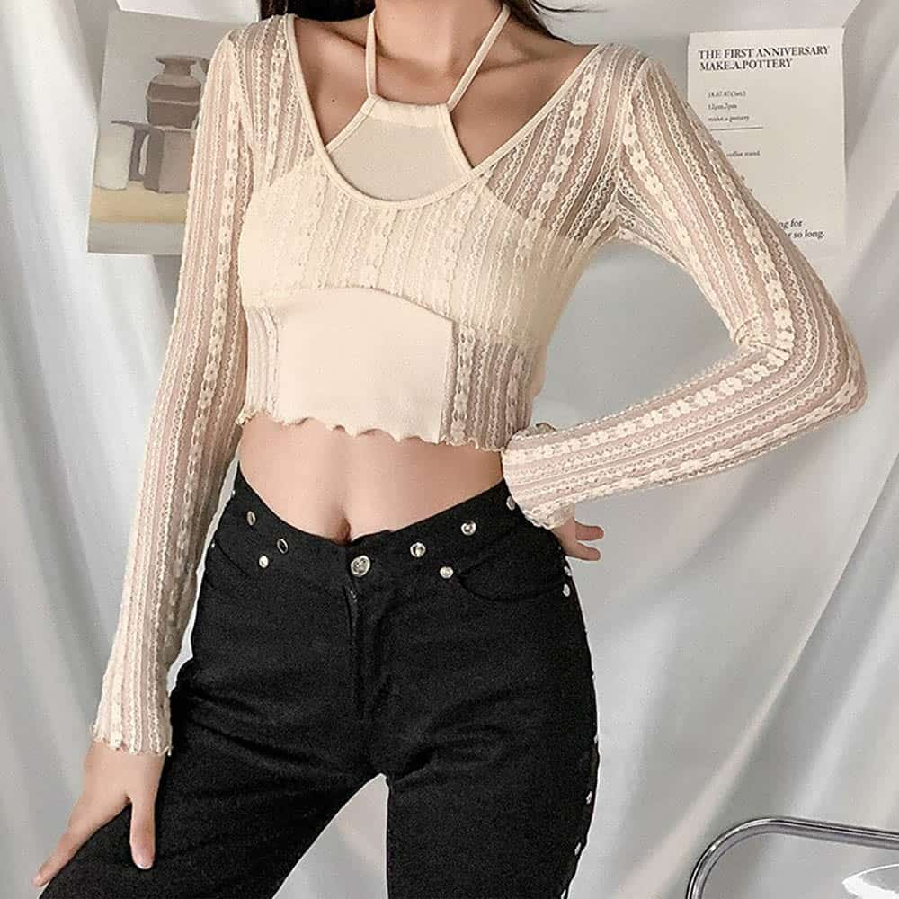 SEXY LACE TRANSPARENT LONG SLEEVE CROP TOP