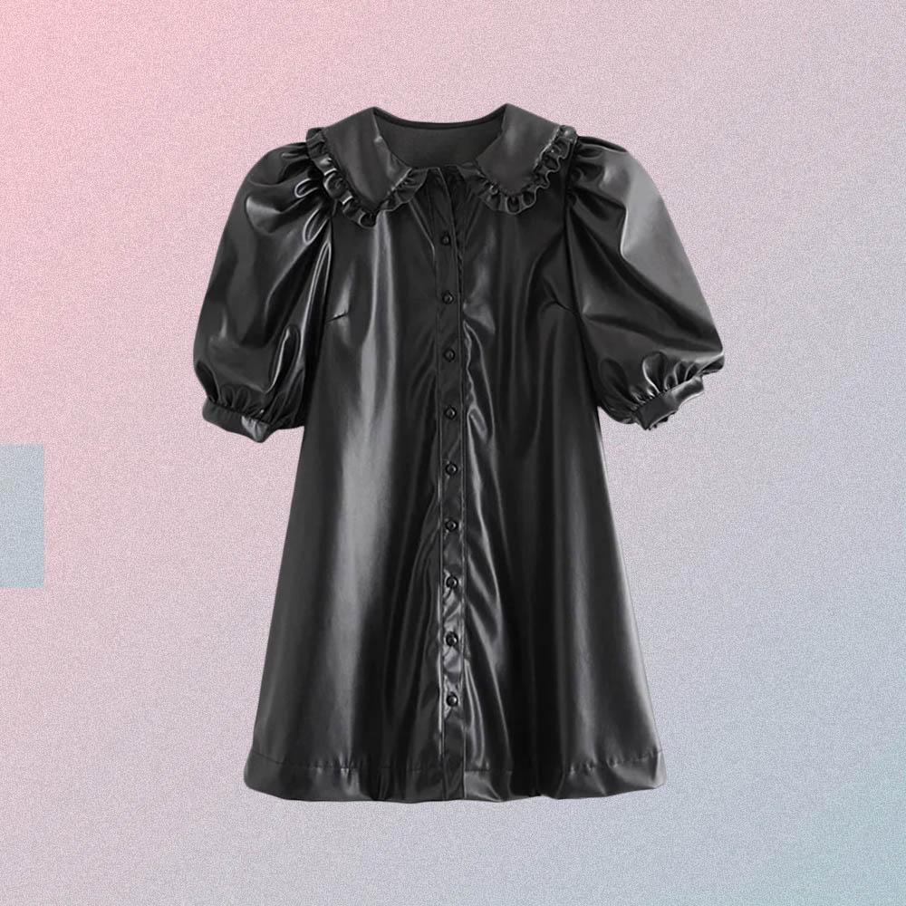 VINTAGE AESTHETIC LANTERN SLEEVE BUTTON DOWN DRESS