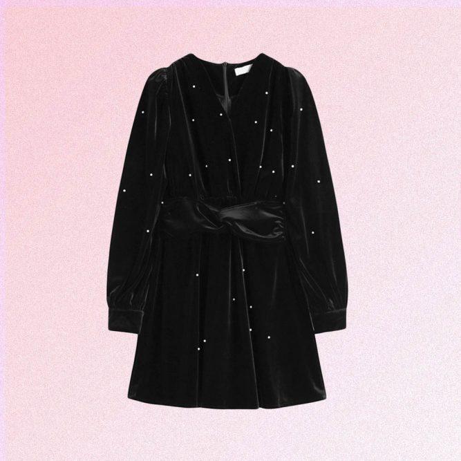 VINTAGE AESTHETIC LANTERN SLEEVE V-NECK VELVET DRESS